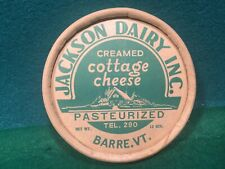 Vtg 1940's Jackson Dairy Inc. 12 oz. Cottage Cheese Container. Barre, Vermont.