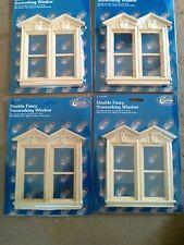 dollhouse miniatures wood Double Fancy Victorian Nonworking Windows Lot 4 Pcs