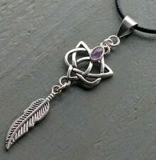SIlver Plated Celtic Heart & Feather Amethyst Pendant Reiki Chakra Boho Pagan