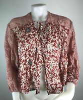 Free People Women's XS Red Boho Tie Neck Jacket Top Blouse