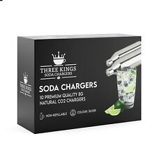 More details for three kings 10 x 8g co2 soda chargers - non-threaded bulb natural gas beer brew