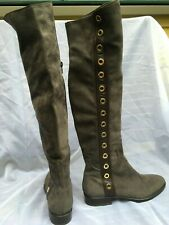 LE PEPÉ Gray suede Leather knee high tall Riding Boots gold stud women 39.5/8.5