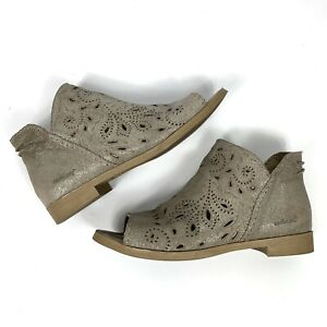 Cool Coolway 39 Boots Leather Suede Open Toe Gray Silver Glitter Booties Cut Out