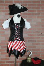 5 Piece Leg Avenue Women's First Mate, High Seas Pirate Wench Costume Size M/L