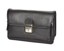 Mens Wrist Leather Bag BLACK Clutch Grab Mobile Travel Lockable Leather Pouch