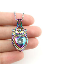 "C879 Rainbow Colorful Heart Flower Pearl Cage Steel Chain 18"" For Wedding Gift"