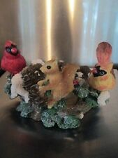 "Cardinals and squirrel 3"" diameter base candle older"