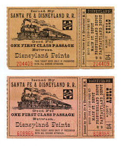 Two 1957 Santa Fe & Disneyland R.R. Train Tickets