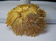 HUGE 3'' MONET Vtg Gold tone Dome Round Flower Brooch