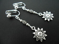 Sun Clip On Earrings. New. A Pair Of Tibetan Silver Dangly