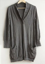 METALICUS Dark Olive/Khaki Stretchy Wool Tunic, Long TOP One-Size, Button Detail