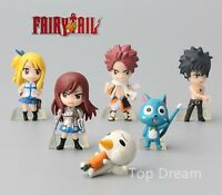6pc Anime Fairy Tail PVC Figure Doll Toy Set Natsu Gray Lucy Erza Happy Plue NEW