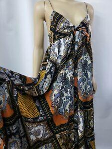 H&M Summer Dress Paisley Print Midi Length Size 10 Multi Coloured  Strappy #CB2
