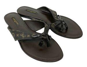 LOUIS VUITTON Monogram Dice Lv Logo Thong Sandals #38 US 8 Brown RankAB