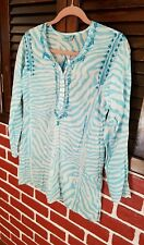 Letarte Hand Made Womens White/Blue Embroidered Cotton Cover Up , Size - XS