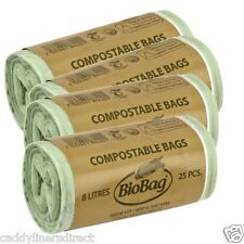 8 Litre x 100 BioBag Compostable Food Waste Caddy Liner Bin Bags (8L) EN13432