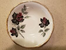 "Old Royal Albert "" MASQUERADE ""  Fruit / Dessert Bowl 5 1/2"" ~~~Black Red Roses"