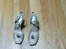"Vintage Penaljo Shoes Gold Metallic Clear Lucite 3"" Heels Sz. 8-1/2 Aa Excellent"