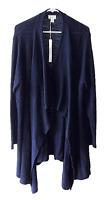 Caslon Size 2XL Blue Cotton Waterfall Drape Front Open Cardigan Sweater