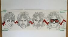 Vintage Beatles Poster Four Faces Keith McConnell 1974 Music Head Shop Pin-up