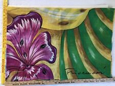 """VINTAGE 100% COTTON FIORUCCI DESIGNER SIGNED ITALY SCARF VERY LRG 60""""x83"""" FRUITS"""