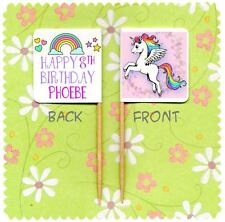 20 PERSONALISED UNICORN CUP CAKE FLAG Party Pick Topper Decoration Birthday Food