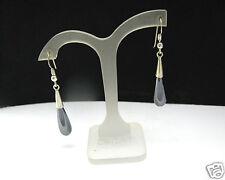 Ohrringe Ohrhänger Edelsteine Hämatit Tropfen grau Silber 925  Mineralien 40mm