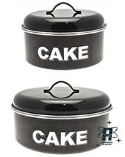 VINTAGE STYLE SET OF TWO BLACK ENAMEL CAKE TINS STORAGE CONTAINER NEW & BOXED