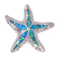 """Blue Fire Opal Silver Lovely Star for Women Jewelry Gems Pendant 1 1/4"""" OD6248"""