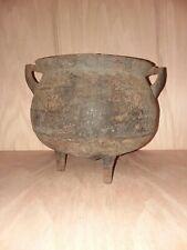 Small Antique Cast Iron 3-Foot Gypsy Kettle/Bean Pot/Cauldron  1800s  FREE SHIPP