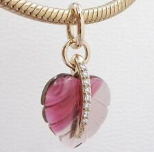 2019 Autumn 925 Sterling Silver Rose Pink Murano Glass Leaf Pendant
