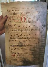 MEDIEVAL ILLUMINATED MANUSCRIPT LEAF GREGORIAN CHANT MUSIC CHORAL CHURCH