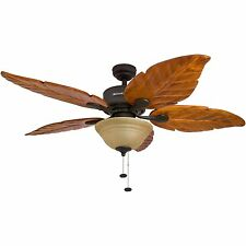 Ceiling Fan Indoor With Light Tropical Palm Leaf Design Wood 5 Blades 3 Speed