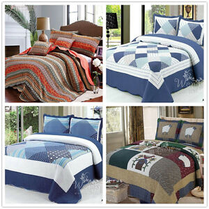 Checked Patchwork Quilted Queen King Size Bedspreads Set Coverlet Blanket Throw