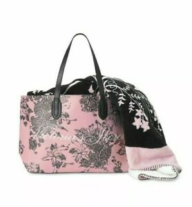 Victoria's Secret Sherpa Blanket and Tote  NEW pink/black floral