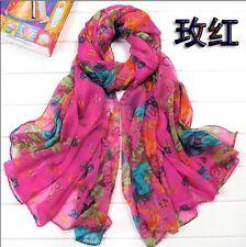 Fashion Women's  Beautiful Rural Style Flower Long Silk Scarf Shawl