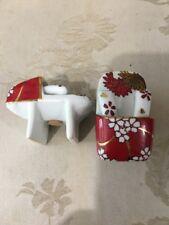 VTG Japanese Sandals Salt & Pepper Shakers Geta Shoes Blossom Ruby Red Lotus