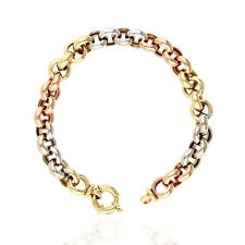 """14K Tri-Color Yellow White Rose Gold Oversized Clasp Rolo Link Bracelet 7.5"""""""