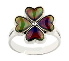 LUCKY FOUR LEAF CLOVER SILVER ADJUSTABLE MOOD RING [FREE UK P&P]