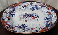 EXCELLENT WRS & CO IMPERIAL STONE JAPANNED FOOTED WELL ANTIQUE PLATTER CA 1830