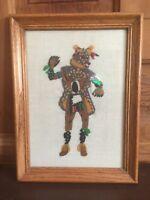 Vintage 1976 Southwest Framed Bear Kachina Crewel Needle Point