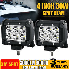 2x 4INCH 30W PHILIPS LED WORK LIGHT BAR SPOTLIGHT OFFROAD 4x4WD CAR FOG LAMP 12V