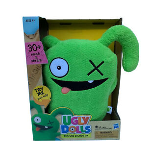 UglyDolls plush green Ox talking 30+ sounds and phrases plus extra batteries