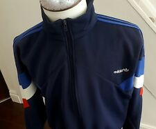 Da Uomo Blu Adidas Tuta Da Ginnastica Top/Giacca Taglia UK XL... vintage. FRANCIA COLORI