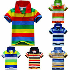 Unbranded Boys' Striped 100% Cotton T-Shirts & Tops (2-16 Years)