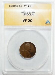 1909 S Lincoln Wheat Cent Coin 1c US Penny Certified by ANACS as VF20 San Fran