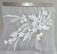 LARGE 3D Floral Lace Embroidery Bridal Applique Beaded DIY Pearl Tulle Wedding