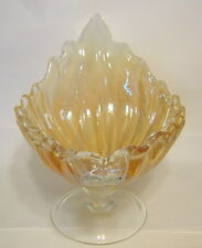 Art Glass Shell Formed Bowl Irridescent Large