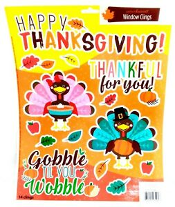 Thanksgiving Reusable Window Clings - TURKEY COLORFUL Word Sayings SALE