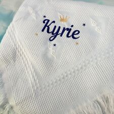 baby Boy Blue blanket shawl, embroidered Personalised